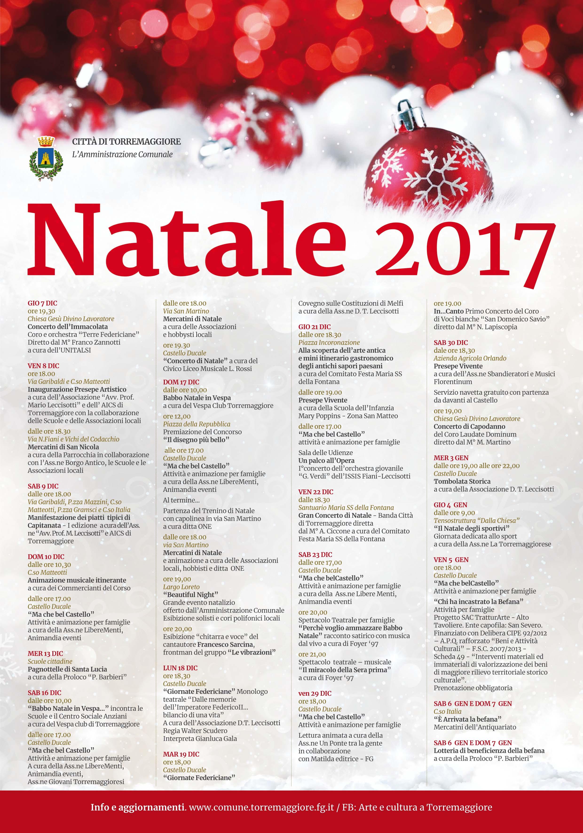 Eventi Di Natale.Programma Eventi Natalizi A Torremaggiore A Dicembre 2017